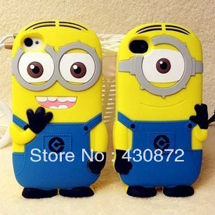 Best selling 3D minion cartoon soft rubber case for iphone 4 4s cell phone cases covers to iphone4s free shipping