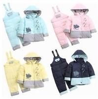 2pcs set,baby boys & girls down coat + suspender trousers,children & kids duck down jacket + jumper pant,high quality