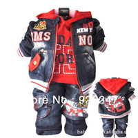 NEW baby denim 3 pieces Suits set Boy's suits set jacket+t shirts + jeans pant baby kids clothing spring freeshipping