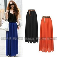 2013 Multicolor European and American  new fashion chiffon pleated long maxi dress free shipping