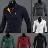 2014 New Autumn Top Brand Fitness Embroidery Deer Cotton Mens T Shirt Men's Long Sleeve Shirts Fashion Sports shirt,R1127