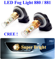 Car LED Fog Lights 880 881 H27 Auto CREE Bulbs Auto Lighting System 12V Super Bright Pure White LED Light Free HongKong Post