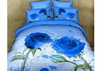 Oil painting Duvet/quilt cover modern king queen 3d blue bedding set 4PC bedclothes bed sheet bedlinen sets bedcover (HKY238)