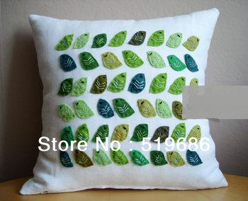Free Shipping Green Birds Linen Pillow Cover Decorative Throw Pillows 1 piece Size 40x40cm