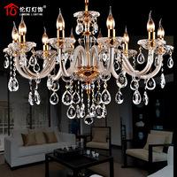 Fashion full crystal luxury column lifter dual lamp living room lights lamps 1302(10 light)