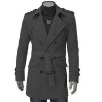 2014 New Winter Jacket Men Down Jacket Trench Coat Double-breasted Outwear Cheap Winter Outwear Long Coat Woolen Men Coat