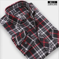 Big discounts! 2013 men's long-sleeved shirts slim fit thick mens brushed plaid shirt for influx of men 30 color size S - 4XL