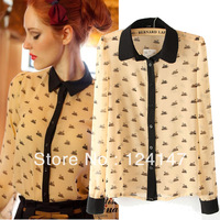 AQ Fashion 2013 autumn black little swan animal print chiffon patchwork all-match long-sleeve shirt