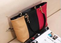 2014 fashion women's pu leather handbag designers brand casual shoulder bag color block messenger bag lady hobo tote NB0184
