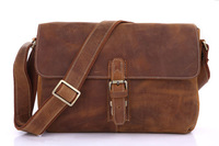 New Arrival Crazy Horse Leather Men's Brown Cross Body Messenger Shoulder Bag Men # 7084B-1