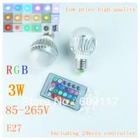 $10 off per $100 DHL free shipping 40pcs/lot 3W E27 IR Remote Control led RGB Bulb 16 Colors Magic Changing Color 85V~265V