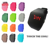 100 pcs Silicone LED touch watch Square Sport Watch Men Women Jelly Silicon Rubber Man watch Ladies wristwatch BIG Wholesale LOT