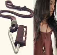 VN182/Wholesale(Min.Order $15)100% Genuine Leather 2013 Men Long Necklace Punk Vintage Leather Necklace Weapon Pendant Gifts