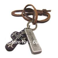 VN190/Wholesale(Min.Order $15)100% Genuine Leather 2013 Men Long Necklace Punk Vintage Leather Necklace Cross Pendant Gifts