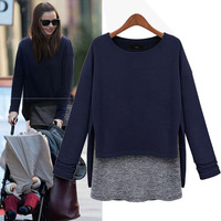 Free shipping 2013 New Autumn Long Sleeve Women's Top Korea Casual T-shirt Faux Two Piece Patchwork Knit  T-shirts