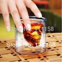 120 PCS Fedex Free Shipping, 2015 Creative Crystal Skull Head Vodka Shot Glass, Novelty Skeleton Head Wineglass Cup For Whiskey(China (Mainland))