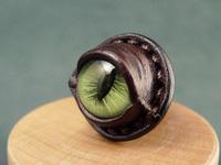FREE shipping Green cat-eye cowhide ring original design handmade ring artificial eye ring