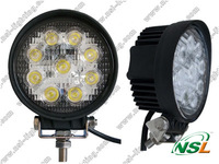 Free shipping 8pcs/lot Aut High Power 9pcs*3W LED Work Lamp Flood Light 10-30V - 27W 4'' Inch Round