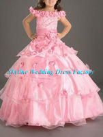 Custom-size/color flower-sew A-line chiffon floor-length Flower girl dresses girls party dresses childs gown Sky-1171
