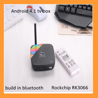Free shipping for Android 4.1  dual core rockchip rk3066  TV Box  Bluetooth WiFi Ethernet Interface HDMI and antenna
