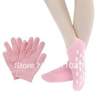 Hot- 2pairs/LOT( Moisturize Soften Repair Whiten Skin Moisturizing Treatment Gel SPA gloves and socks) Skin care Free Shipping