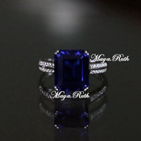 Synthetic Sapphire Square Shape Ring Blue Color Gem 925 Pure Silver CZ Diamond Micro Setting Luxury For Women Free Shipping