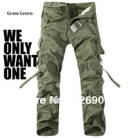 High Quality!2014 New Arrival Mens Designer Camouflage Cargo Pants Loose Cotton Casual Tactical Pants 6 Colors Large Size