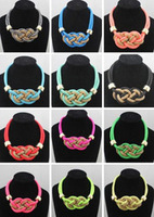 1PC Free SHipping! Fashion 2013 Hot Items Personalized Statement Handmade Knitted Rope Choker Collar Necklace Neon necklace