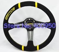 """14"""" MOMO Suede Steering Wheel Deep Dish Racing Car Drifting Steering Wheel"""