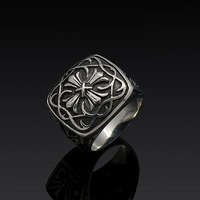 Silver Plated Gothic Vintage 316L Stainless Steel Rings For Men 2014 New Fashion Jewelry Free Shipping