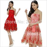 New Fashion Woman Korean Bra Lace Flower Bow Graceful Toast Short Evening Party Dress FZ110