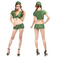 1442 female sexy military costume