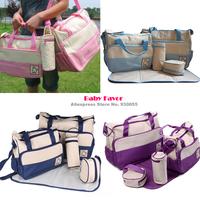 Free Shipping 5pcs New Women Mamu Mami Mother Diaper Bag Nappy Food Bottle Multifunction Set For Baby Girl Boy Newborn Pink Blue