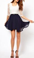 2014 Brand New Sexy Fashion Summer Women Ladies Skater Cute Casual Dress Chiffon Lace Top Mini Dress