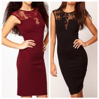 Free shipping, 2013 Designer Fashion Sexy Women Ladies Dress Floral Lace Insert Slim Bodycon Dress Party Clubwear Evening Dress