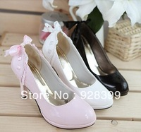 Free Shipping New High-heeled Shoes Singles Korean Princess Shoes Wedding Shoes White Pink Black Butterfly