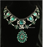 2013 Top Fashion design luxury vintage multilayer crystal color stone statement necklace for women jewelry, Free shipping