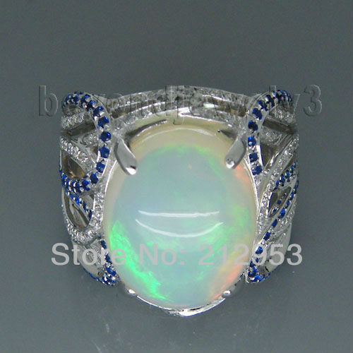 Vintage Oval 12x15mm 18Kt White Gold Natural Diamond Opal Ring For Sale SR319(China (Mainland))