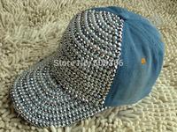 Freeshipping fashion denim baseball caps,Luxury pearl drill women sun cap,lady JEAN summer sports hat sunshine hat,snapback hat