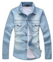 [Big Man] 2013 autumn and winter men Korean version men's casual long-sleeved shirt solid color denim shirt/size M-XXL