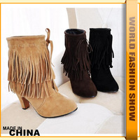 Fashion Ankle Boots for Women Plus Size 34-47 Brand New Med Heels Sexy Tassel Boots Snow Shoes JAB144