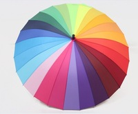 new fashion high quality long-handled  rainbow umbrella  24k rainbow wind resistant sun umbrellafree shipping