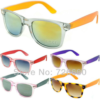 Free shipping! Fashion Transparent Frame Plastic Leg Candy Multicolour UV400 sunglasses120-0030