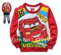 Free shipping retail boys and girls cartoon T shirt long sleeve ,t shirt cars casual children for kids cotton 2013 fashion