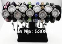 Min. order $10 wholesale black string gallstone rhinestone shamballa bracelet watch for women 2014 cheap party jewelry