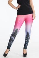 Leggings Fashion 2013 Aurora Skye Neon Purple Leggings Black MIlk Leggings Galaxy leggings Plus Size M XL LB13096