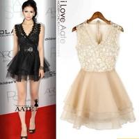 Fashion lace decoration paillette gauze multi-layer sweep V-neck sexy sleeveless one-piece dress