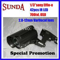 42 IR LED security surveillance outdoor CCTV camera 700TVL effio-e SONY exview CCD 2.8-12mm varifocal lens free shipping