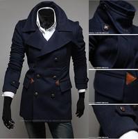 Free shipping 2014 New men's Blazer Gentleman style slim Windbreaker  3colors black navy blue army green F02