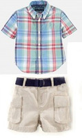 HOT SALE 2013 New Baby boys POLO Plaid T-shirt + casual shorts suit children Handsome boy top pants sets two-piece 6set/lot